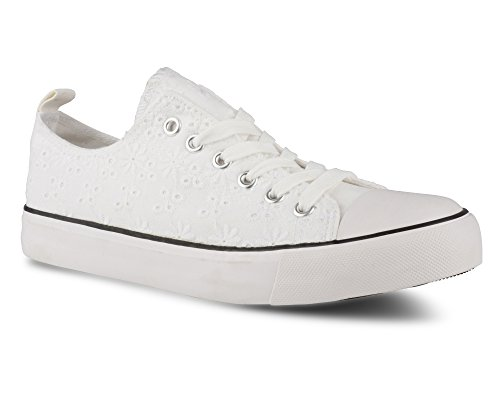 Sneakers White Eyelet Twisted Top Womens Stylish Canvas Hunter Lo qgABn6S