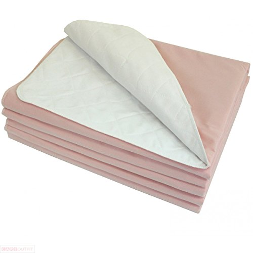 5 pc 18x24 Adult Reusable Washable Bed Chair Under Pad Incontinence Underpad Heavy Absorbency Cotton Top Sheet Medical Grade