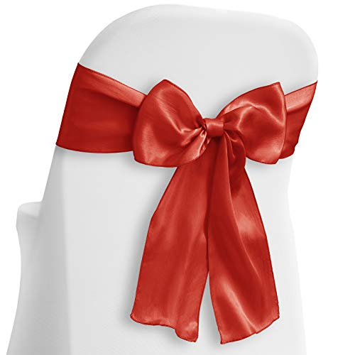 Lann's Linens - 30 Elegant Satin Wedding/Party Chair Cover Sashes/Bows - Ribbon Tie Back Sash - Red