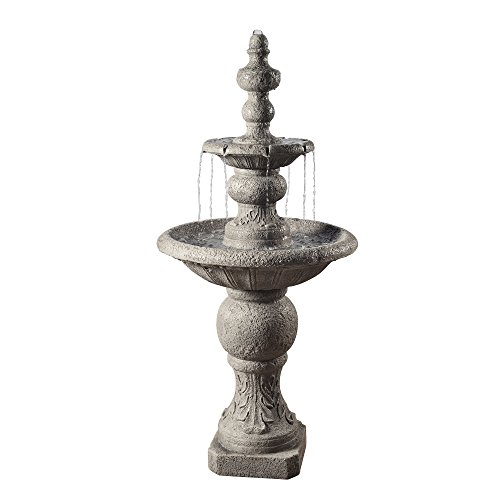Peaktop - VFD8179 Outdoor Fountain, 2 Tier ICY Stone Waterfall Fountain, Light Grey, 53