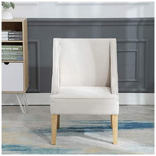 Farmhouse Accent Chairs Guyou Mid-Century Accent Living Room Chair Fabric Wingback Chair, Solid Wood Upholstered Armchairs for Bedroom/Vanity… farmhouse accent chairs