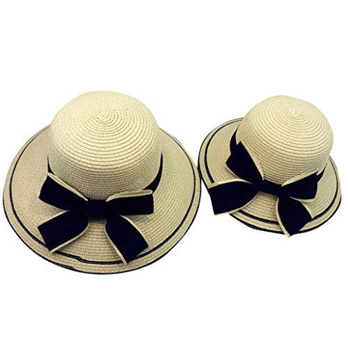 UCQueen Straw Hats for Women Baby Caps Summer Parent-Child Kids Girl Beach Bow Straw Flat Brim Sun Hat Cap Sunhat Beige
