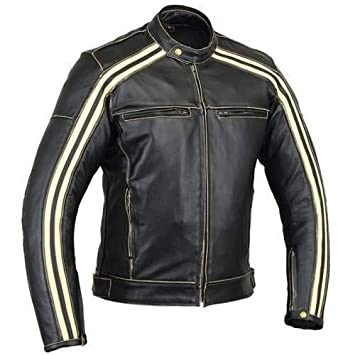 Australian Bikers Gear Retro Style The Bonnie - Chaqueta de moto, Negro / Blanco, 4XL