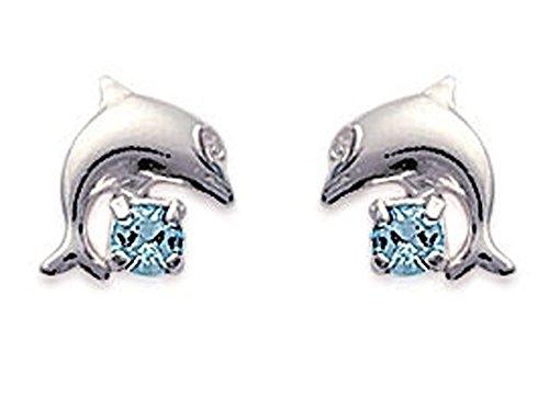 Boucles d'Oreilles en Argent 925/000 Forme Dauphin avec Cristal Bleu Aquamarine