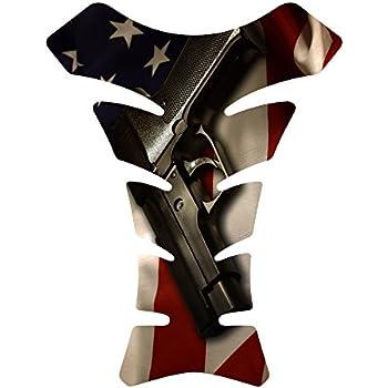Size is 8.5 in tall x 6.5 in wide American Flag Gun 2nd amendment 3d Gel Motorcycle Gas Tankpad Kawasaki Ninja ZX Suzuki GSXR Honda CBR Yamaha YZF ...