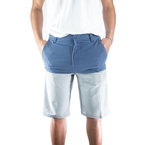Striped Seersucker Bermuda Shorts (Burnside Mens Hybrid Shorts Two Tone 34, Blue)