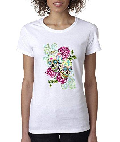 Sugar Skull 2 Skulls 2 Roses Ladies T-Shirt Day of Dead Shirts 3XL White s5 ()