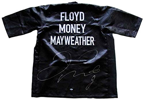 (Floyd Mayweather Jr Signed Custom Black Money Boxing Robe Beckett BAS - Beckett Authentication - Autographed Boxing Robes and Trunks)