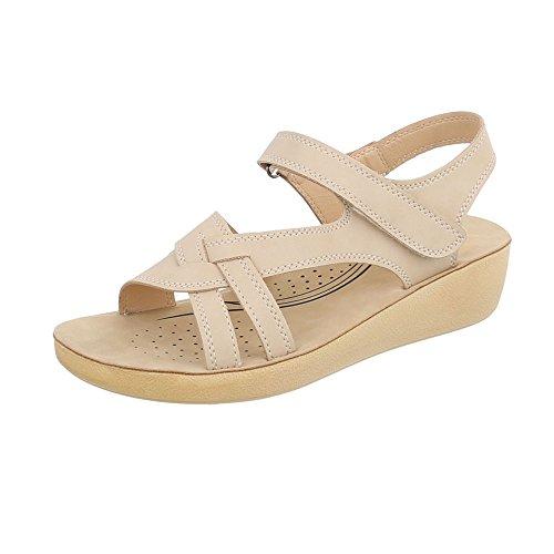 Ital a Sandales Design Beige Sandales Plat Femme Chaussures Laniere rRZrFAqWY