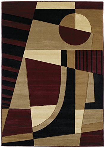United Weavers Contours Urban Angles Burgundy Accent Colorful Luxury Rug for Bedroom, Living Room, Dining Room 1'10'' x 2'8'' (United Weavers Urban Angles)
