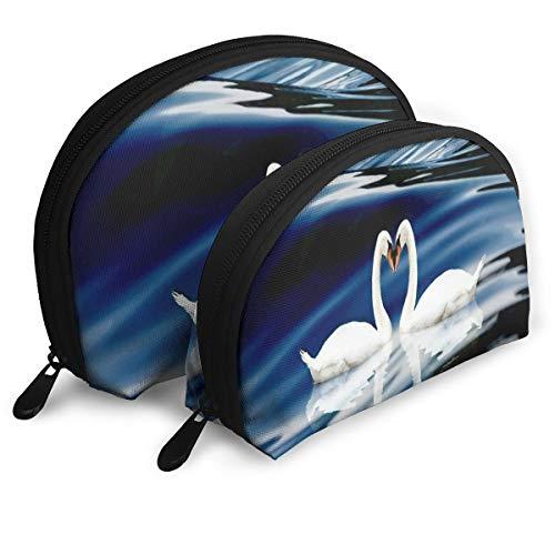 Makeup Bag White Swan Love Portable Shell Storage Bag For Girlfriend Halloween Gift Pack - 2 -