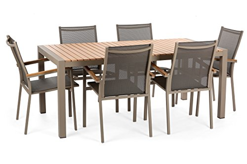W Unlimited 7 Piece Arcadia Collection Outdoor Furniture Garden Patio Dining Set