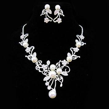 Schmuckset silber  Miya® mega luxus glamour Schmuckset silber Kette mit Kristall ...