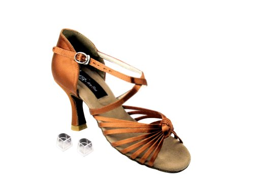 Veldig Fine Damer Kvinner Ballroom Dans Sko Ekcd2078 Med 2,5 Hæl Mørk Brunfarge Satin