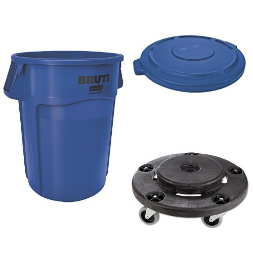 (Rubbermaid Commercial BRUTE Container with Venting Channels and Lid, Blue, 55 Gallon,  and Dolly (1779732, 1779733 & FG264000BLA))