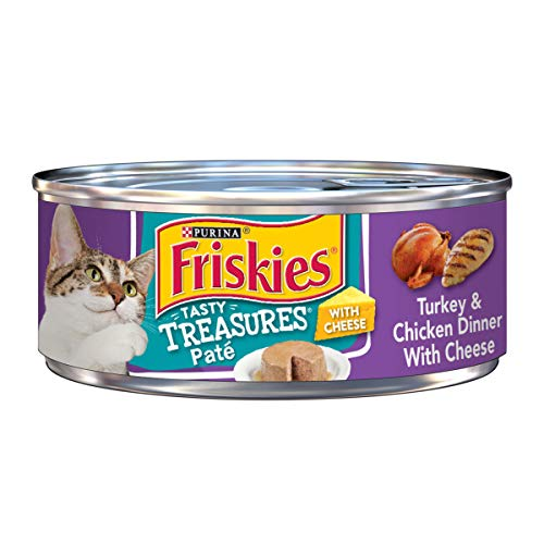 - Purina Friskies Pate Wet Cat Food; Tasty Treasures Turkey & Chicken Dinner With Cheese  - (24) 5.5 oz. Cans