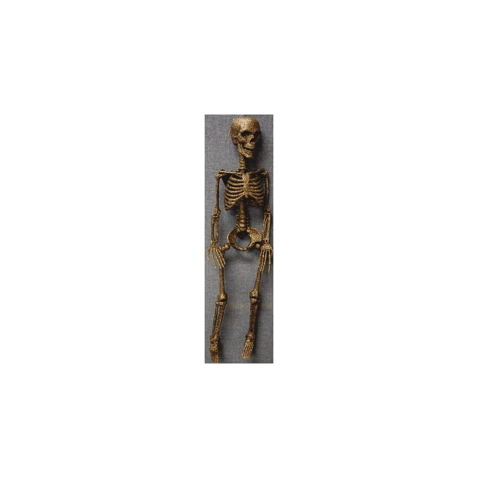 Hanging Skeleton With Glitter Halloween Prop Gold