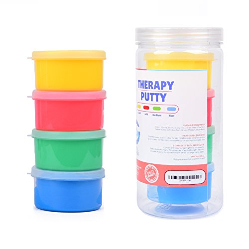 Therapy Putty - Resistive Hand Exercise Therapy Putty Kit, Set of Four Strengths, 3 Ounces of Each Putty