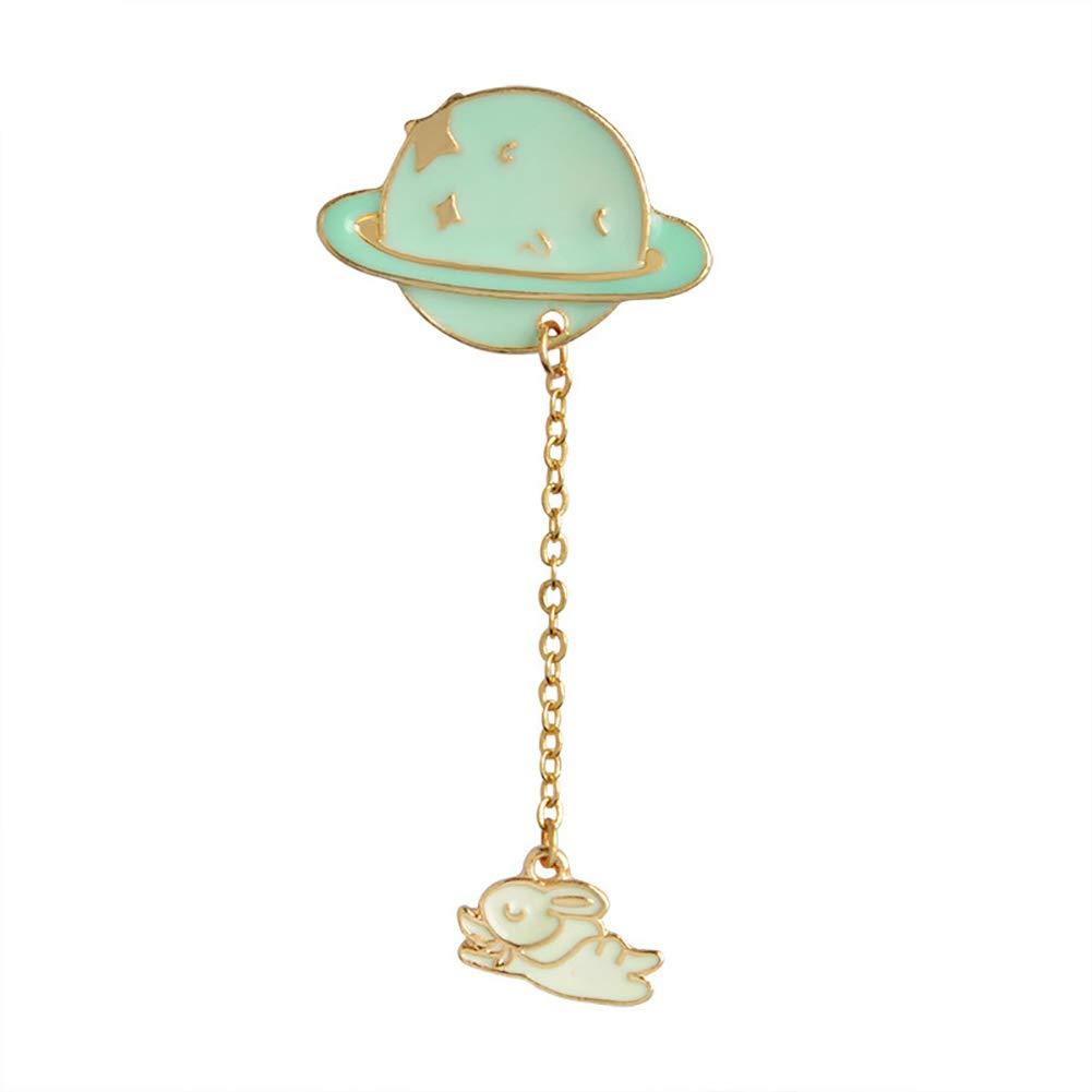 Ciondolo a Forma di Coniglio Planet Astronaut Badge smaltato Giacca Camicie Borsa Decor Taglia Unica Rabbit Tangbasi Spilla Pins