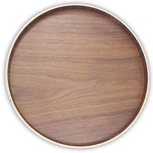 (Ann Lee Design Simple Round Rigid Wood Serving Tray (11.8