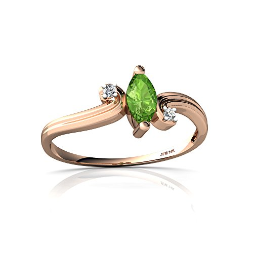 14kt Rose Gold Peridot and Diamond 6x3mm Marquise Ocean Waves Ring - Size 5.5