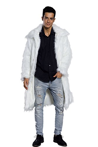 Amore Bridal Mens Faux Fur Coat Long Black Jacket Warm Furry Overcoat Outwear White - Fur Coat Trench