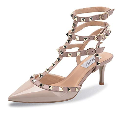 WSKEISP Womens Pointed Toe Slingback Kitten Heel Studded Strappy Sandals T-Strap Bridal Party Prom Shoes Nude Grey Patent PU EU42