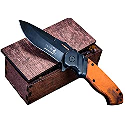 Hunting Knife Wooden Gift Box- Groomsmen or Boyfriend Pocket Knives, Groomsman Boxes, Husband Gift Set or Mens Wedding Gifts- Folding Blade Rustic Wood Handle Spring Assisted w/Clip, Elk Ridge 003BW