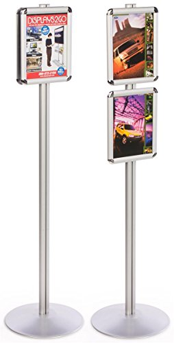 Advertisement Metal (Displays2go Sign Displays 14W x 55.5H x 14D Inches Silver Finish Aluminum Metal Poster Holders for 8.5 x 11 Inches Images - Freestanding Snap Frames Display Two Separate Advertisements (QCRND85X2))