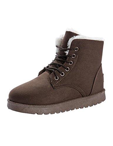 Winterstiefel Damen Schnür Stiefeletten flache Stiefel Worker Boots Winter Stiefel Boot Dauerhaft Schlupfstiefel Braun