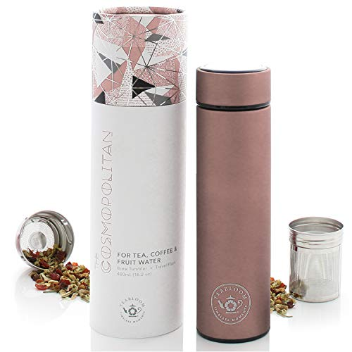 - Teabloom All-Purpose Beverage Tumbler - 16 oz - 480 ml - Brushed Metal Insulated Water Bottle/Tea Flask/Cold Brew Coffee Mug - Extra-Fine Two-Way Infuser Travel Bottle - Rose Gold