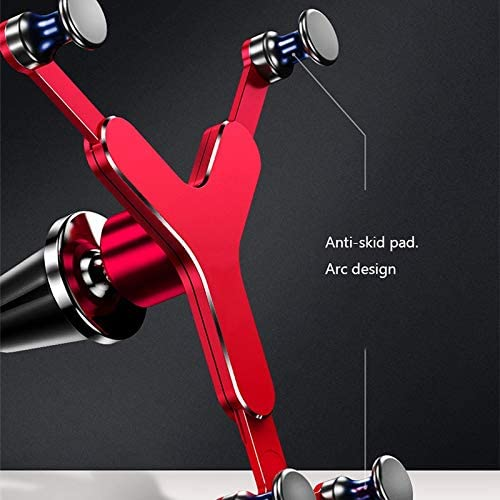 Kkk ligting Triangle Stable Vehicle Mobile Phone Bracket Clasp Type air Outlet Special GPS Gravity Support Frame Can Be Rotated 360 Degrees Compatible with 4-6-inch Model Color : Red
