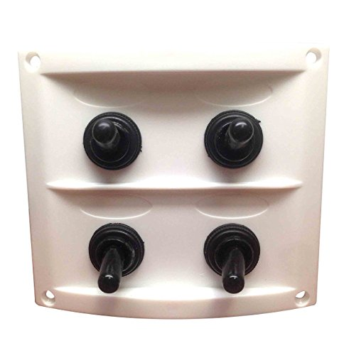 (Pactrade Marine Boat White Waterproof Switch Panel with Fuses & Neoprene Cap Switches)
