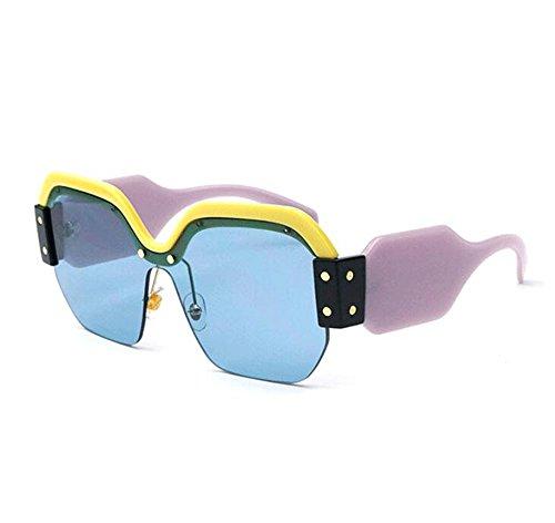 señora cuadradas Gafas no de la vendimia sol de retra polarizadas de Marco lente la Azul tamaño gran la plástico de de EEqfxnwrtP