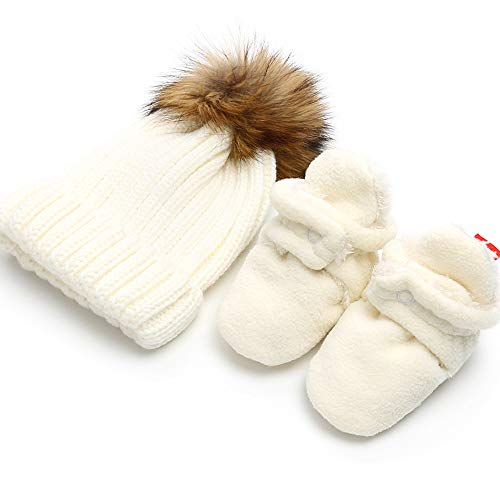- Isbasic Unisex Baby Cozy Fleece Lined Booties Non-Slip Infant Winter Warm Socks Shoes + Knit Pom Pom Hat (12-18 Months White)