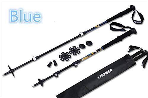 MCC External Lock Trekking Pole Hike Telescope Stick Nordic Walk Cane Carbon Fiber Aluminum Ski Camp Blue