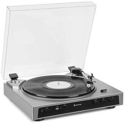 AUNA Fullmatic Fully Automatic Turntable  Record Player  33 45 rpm  Record Size  USB Port  AUX Input  Preamplifier  Pickup System  Luxurious Design  MP3 Conversion  Silver