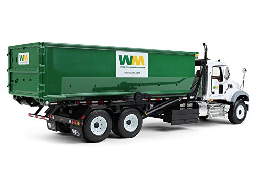 First Gear 1/34 scale Diecast Collectible Waste Management Mack Granite with Tub-Style Roll-Off Container (#10-4050)