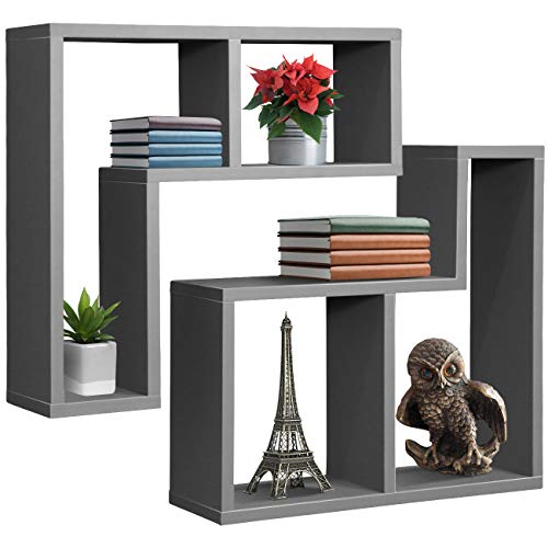 Sorbus Floating Shelf L-Shaped Set - L-Ledge Wall Shelves with 2 Openings, Decorative Hanging Display for Photo Frames, Collectibles, and Home Décor Geometric L-Shape (Set of 2 - Grey)