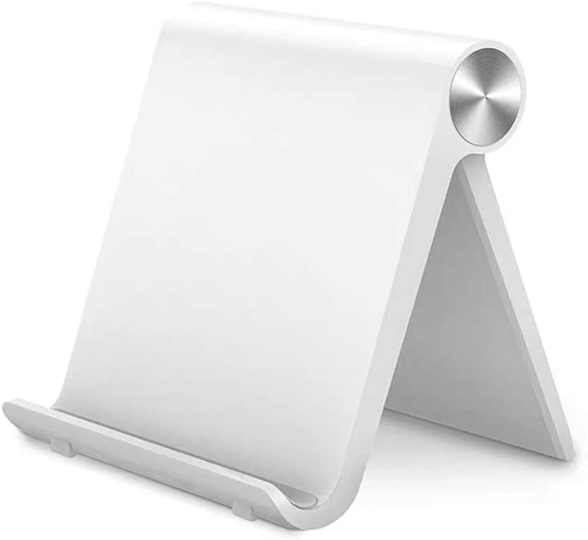 "Multi-Angle Cell Phone Stand Adjustable Tablet Stand Universal Foldable Mobile Phone Dock, Compatible for iPhone Phone 11 Pro Xs Xs Max Xr X 8, iPad Mini, Tablets (7-10""), White"