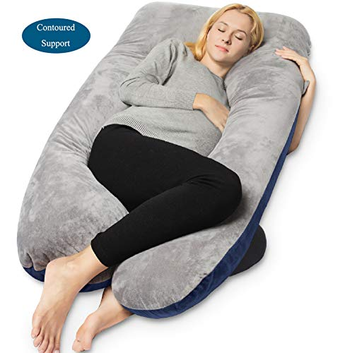 QUEEN ROSE Pregnancy Pillow and U-Shape Full Body Pillow with Velvet Cover,Blue and Gray