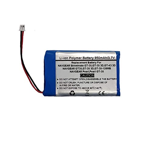 3.7V/950mAh Replacement GPS Navigator Battery for NAVGEAR GT35, GT-35 3D, GT-35-128MB, Pearl, Pearl GT-35, Streetmate GT-35, Streetmate GT-35 3D, Streetmate GT-43 3D,NAVGEAR WTL303580