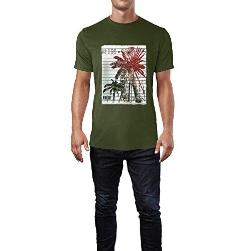 SINUS ART® Palmen mit Riesenrad im Surfer Stil Herren T-Shirts in Armee Grün Fun Shirt mit tollen Aufdruck