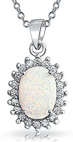 Bling Jewelry Oval Synthetic Opal October Birthstone Pendant .925 Sterling Silver Rhodium Plated