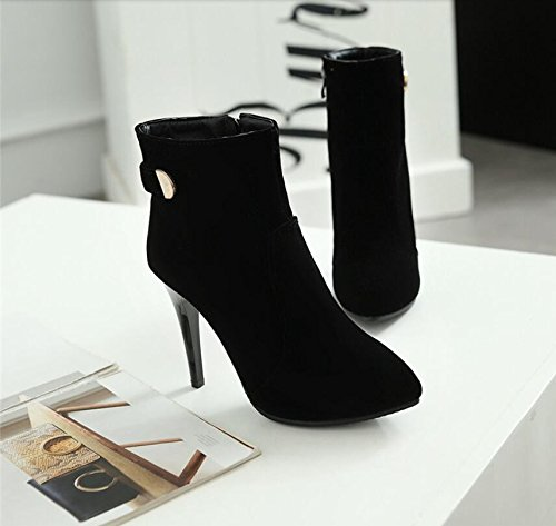 HGTYU-The Winter Wind Women Shoes Tip With Ultra Thin 10.5Cm High Heeled Waterproof Taiwan Side Zipper Boots Martin Short And Women'S Singles Shoes Black hdPpBBa6p