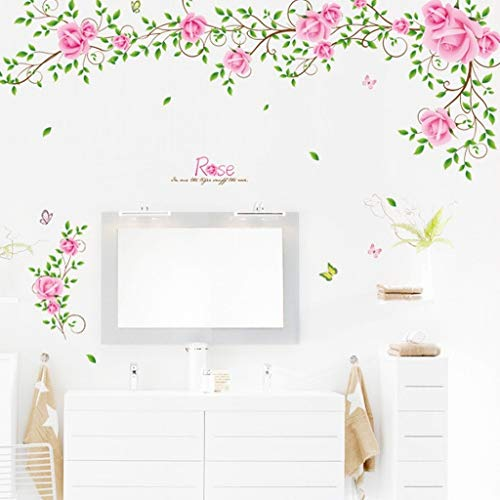 Wall Stickers Large Size PVC Art Decoration Removable Pink Roses Romantic Flower Rattan Style For Wedding Room Home Decals Mural Restaurant Bedroom Sitting Room Sofa TV Background By Kamay's (FAM9007)