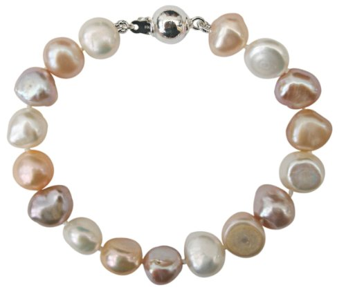 Bridesmaid Soft Peach/Lilac/White 9-10mm Baroque Cultured Pearl Bracelet With A Pretty Sterling Silver Ball Clasp, 15Cm 10mm Ball Pearl Clasp