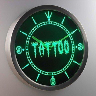 HJL- nc0292 letrero de neón tienda de tatuajes llevó reloj de pared , red: Amazon.es: Relojes