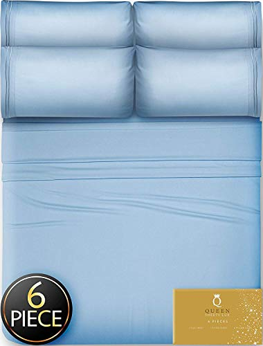 6 Piece Queen Sheets Bed Sheets Queen Size – Sheets Queen Size Sheets Queen Bed Sheets Queen Sheet Set Queen Size 6 Piece Deep Pocket Queen Sheets Microfiber Sheets Queen Bedding Sets Sheet Light Blue