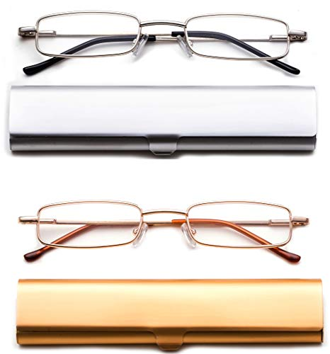 (2 Pack Reading Glasses in Aluminum Case Front Open Rectangle Metal Reading Glasses Compact on the Go Slim Reading Glasses Super Lightweight Reading Glasses 2.00)